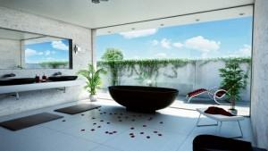 black free standing tub