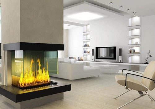 3 sided fireplace by home remodeling Plano contractor