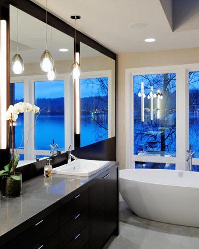 modern bathrrom by bathroom remodeling Garland contractor